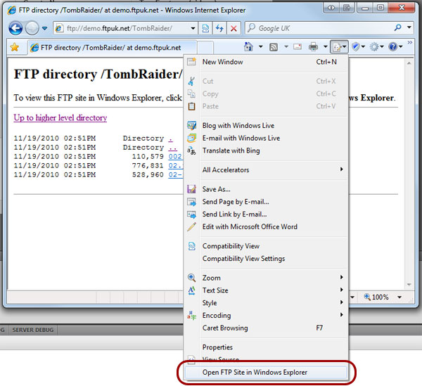Windows Explorer FTP with FTP Hosting