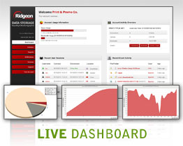Dashboard - LIVE information and statistics about users currently logged on and the most recent events (uploads, downloads etc) activtity on your storage.