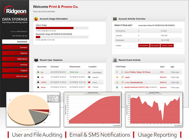 FTP Hosting and UK Online Data Storage Reporting, Monitoring and Auditing Web Panel